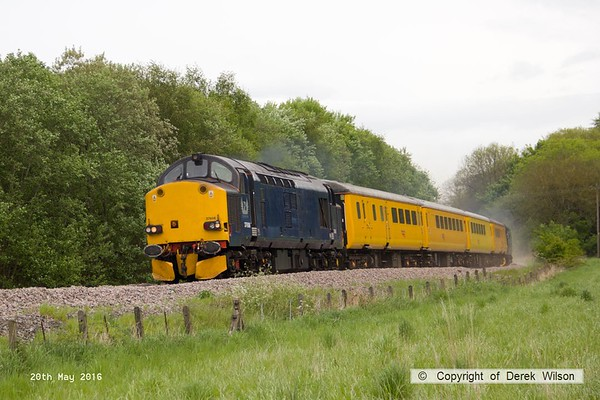 160520-015     Europhoenix class 37/6 no 37608 is seen leading test train 1Q78, 08.54 Derby RTC to Derby RTC as it passes Boughton Junction, on the High Marnham Test Track. Direct Rail Services class 37/6 no 37602 was bringing up the rear.