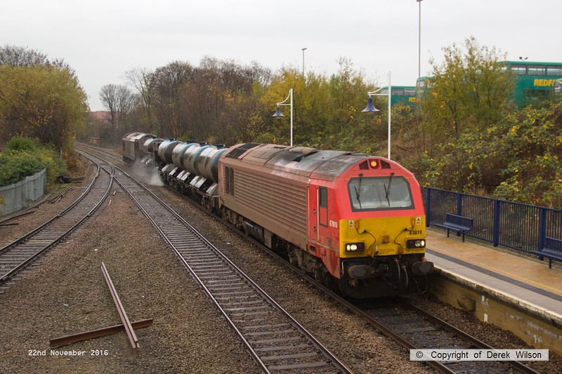 161122-004  On Tuesday 22nd November 2016 a pair of DB Cargo class 67's were captured  passing through Mansfield Woodhouse on the Robin Hood Line, powering RHTT 3J88, 21.03 Toton T.M.D. - Toton T.M.D. This is normally entrusted to DBC 66's so it was a welcome change to see 67018 Keith Heller leading and 67024 at the rear.