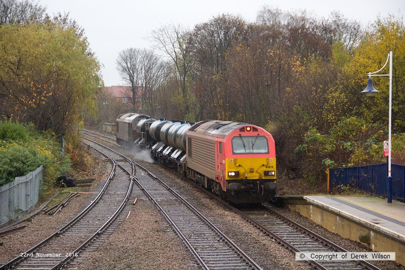 161122-002  On Tuesday 22nd November 2016 a pair of DB Cargo class 67's were captured  passing through Mansfield Woodhouse on the Robin Hood Line, powering RHTT 3J88, 21.03 Toton T.M.D. - Toton T.M.D. This is normally entrusted to DBC 66's so it was a welcome change to see 67018 Keith Heller leading and 67024 at the rear.