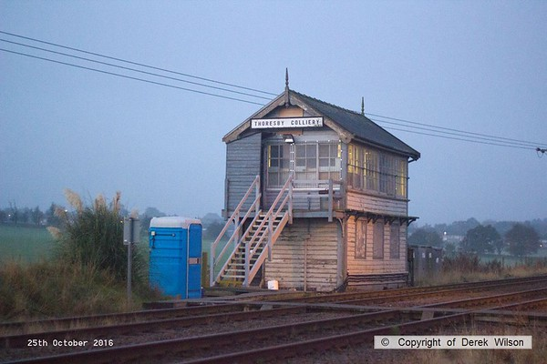 161025-001  Early morning at Thoresby, the signal box has now had all the boarding removed and the windows all repaired after recent vandalism. Protective mesh has been fitted over the windows.