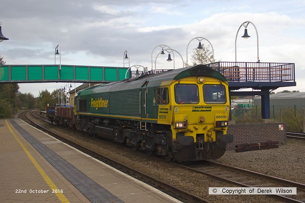 161022-002  Freightliner class 66/5 no 66515 passes through Mansfield Woodhouse, on the Robin Hood Line, powering engineers train 6Z39, 12.52 Doncaster Up Decoy to Toton North Yard, with just two wagons in tow.