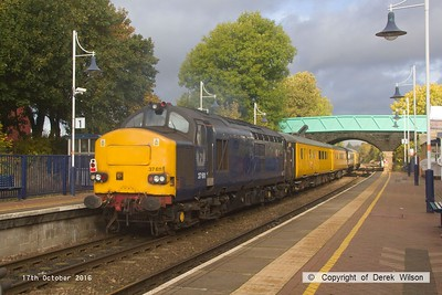 161017-033  EuroPhoenix class 37/6 no 37611 is captured speeding through Shirebrook, at the rear of PLPR (Plain Line Pattern Recognition) test train 1Q64, 08.53 Derby R.T.C. to Leeds, Neville Hill T & R.S.M.D. Almost out of sight, at the front is 37608, which is also now a EuroPhoenix loco.