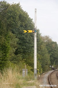 160921-036 Distant signal, Thoresby no 2, on the up main at the long-closed Edwinstowe station, on the former Lancashire, Derbyshire & East Coast Railway. As is evident from the mast, this would have been a combined signal with a Home signal above, which would most likely have been Thoresby no 1.