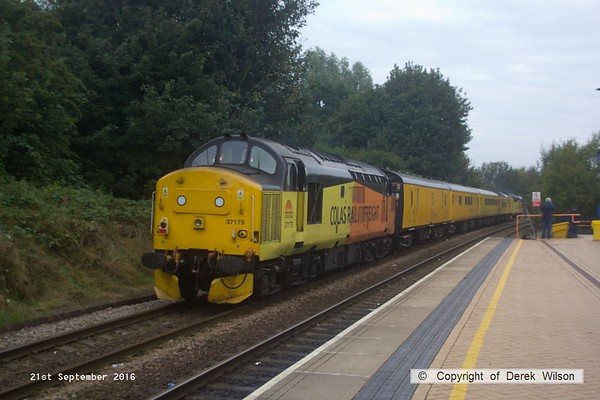 160921-006  Heading away from the camera is Colas Rail Freight class 37 no 37219 leading test train 1Q21, 08.34  Derby R.T.C. to Derby R.T.C. through Mansfield Woodhouse. The train was 'top & tail' with 37175 nearest, at the rear.
