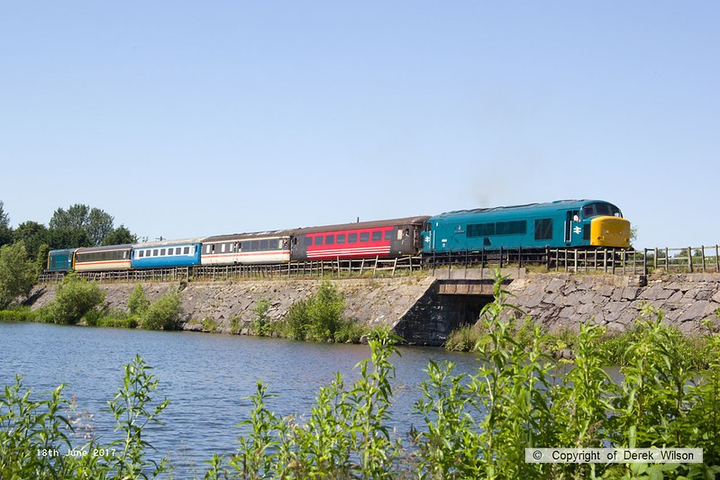 170618-002  BR Peak class 45 No 45041 Royal Tank Regiment top & tail with class 20 No 20205, seen crossing Butterley reservoir with the 12:58 off Hammersmith.