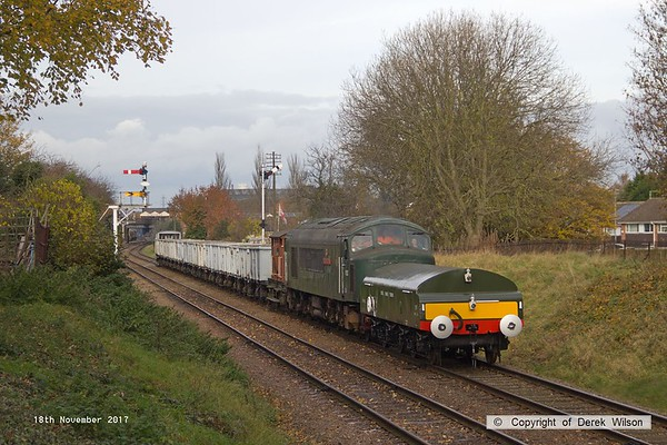 171118-033  Peak type 4, No D123 Leicestershire and Derbyshire Yeomanry is seen near Charnwood, Loughborough, powering 9C17, 11:25 Loughborough - Quorn. In tow is the rake of mineral wagons, whilst at the front of the loco is the newly built Diesel Brake Tender, No B 964122.