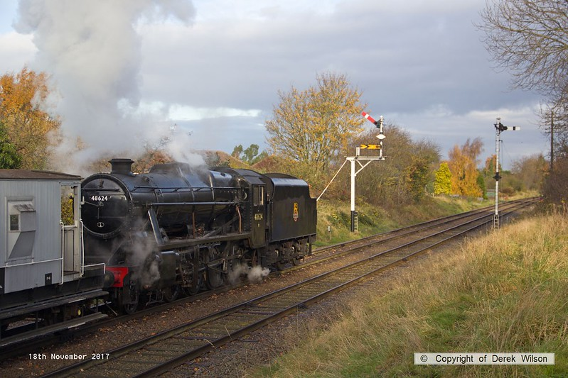 171118-010  LMS 8F 2-8-0 No 48624 is seen passing Charnwood with the mineral wagons in tow, running as 9B01, 09:10 Leicester North - Loughborough