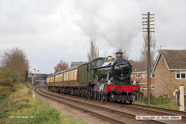 171118-041  GWR Hall 4-6-0 No 6990 Witherslack Hall is captured near Beeches Road, Loughborough, powering pre booked dining train 1A25, 13:00 Loughborough - Leicester North.