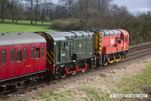 170319-084   Class 08 diesel shunters 08907 in DB Shenker red, and BR green D3690.are seen passing Woodthorpe, at the rear of the 13:32 Quorn - Loughborough.