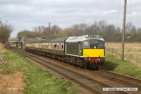 170319-086  BR type 2, class 25 No D5185 passes Woodthorpe with the 13:35 Loughborough - Rothley brook.