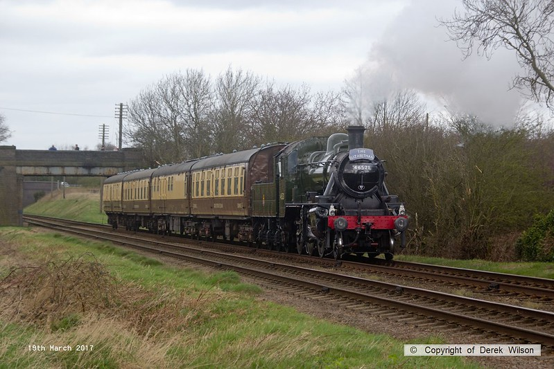 170319-067  LMS 2MT 2-6-0 No 46521 powering the Elizabethan dining train, the 13:00 Loughborough - Leicester North, captured passing Woodthorpe.