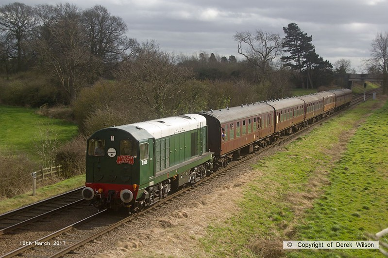 170319-087  BR type 1, class 20 No D8098 is captured passing Woodthorpe with the 13:30 Leicester North - Loughborough.