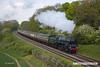 170507-039  BR 9F 2-10-0 No 92214 is seen passing Kinchley Lane with 1A23, the 12:30 Loghborough - Leicester North.