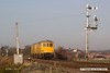 170403-001  Seen heading for the High Marnham Test Track are Network Rail re-engineered class 73 Electro-Diesels No's 73951 Malcolm Brinded and 73952 Janis Kong, waiting at Thoresby colliery junction to be escorted to Tuxford. They were running as 0E10, 05:31 Derby RTC - Thoresby Colliery Junction.