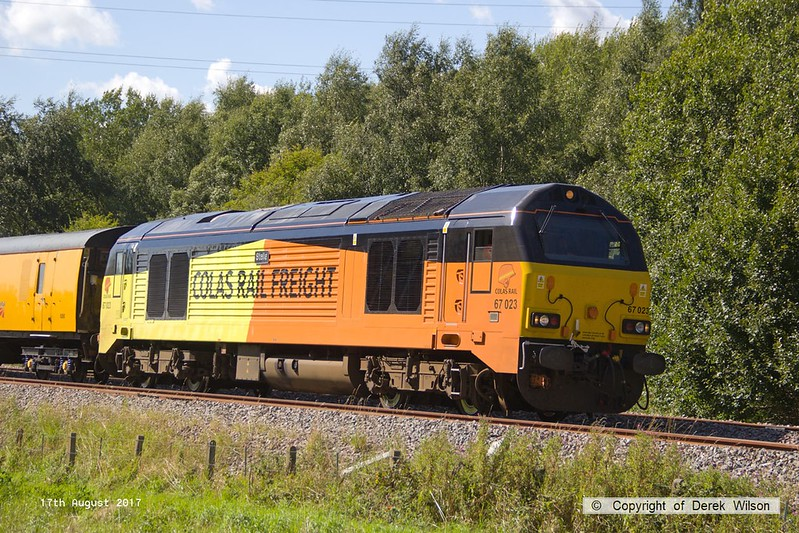 170817-021  Colas Rail Freight class 67 No 67023 Stella, seen on a calibrating run near Boughton Junction, on the High Marnham Test Track.