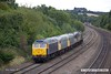 170824-030  Rail Operations Group class 47 No 47812 is captured passing Hasland on a test run, top & tail with 47848 & with three class 56's sandwiched in between, No's 56301, 56081 & 56104. Seen reurning to Leicester as 0M59, 12:45 Barrow Hill L.I.P. - Leicester L.I.P.