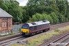 170824-043  DB Cargo 'royal livery' class 67 No 67005 Queen's Messenger is captured passing Clay Cross with route learner 0Z56, 12:54 Landore Street Junction - Masborough F.D.