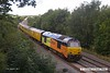 170817-007  Heading away from the camera, Colas Rail Freight class 67's No's 67027 Charlotte & 67023 Stella are captured speeding along the double track section of the High Marnham Test Track with a Network Rail test train whilst being calibrated.