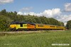 170817-022  Colas Rail Freight class 67's No's 67027 Charlotte & 67023 Stella are captured speeding along the double track section of the High Marnham Test Track with a Network Rail test train whilst being calibrated.