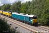 170817-014  DCR operated class 50 No 50008 Thunderer arrives back at the High Marnham Test Track with Loram PLG(01) Plain Line Rail Grinder in tow. The ensemble left the test trackearlier in the day, running to Leicester, then back up the Midland Main Line as far as Sheet Stores Junction where it turned off to Chaddesden, Derby. It had just returned as arrived as 4Z02, 12:30 Chaddesden sidings, Derby - Thoresby Colliery Junction. In the process the Grinder has been turned round.