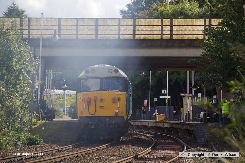 170818-008  DCR operated class 50 No 50008 Thunderer is captured passing Sutton in Ashfield, running as 0Z01, 15:00 Thoresby Colliery Junction - Derby RTC. It was intended to take  Loram Corrective Rail Grinder CRG2 (DR79401 - 404) from Tuxford but the loco ran 'light' instead.