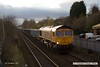 171204-003  A small timely break in the cloud lit this up nicely, GB Railfreight class 66/7 No 66726 Sheffield Wednesday is captured passing Tenter Lane, Mansfield, powering train 6E89, 10:20 Wellingborough up TC - Rylstone, empty JNA bogie box wagons.