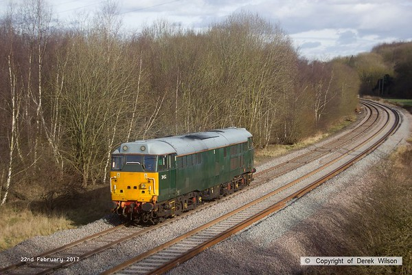 170222-009  DCR green class 31 No 31452 is captured on the High Marnham Test Track, heading to Boughton Junction to collect  Loram CRG(01) Corrective Rail Grinder.