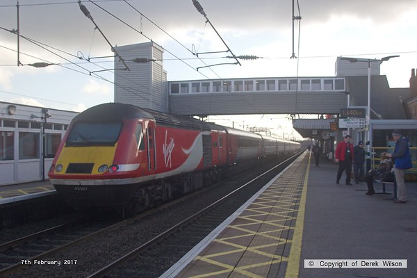 170207-040  Virgin East Coast class 43 no 43367 Deltic 50 1955-2005 at the rear of 1E11, the 07:52 Aberdeen - London King's Cross, captured speeding through Newark North Gate.