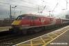 170207-006  Virgin East Coast class 91 No 91113  is seen at Newark North Gate, at the rear of 1Y82, the 10:03 Leeds - London King's Cross.