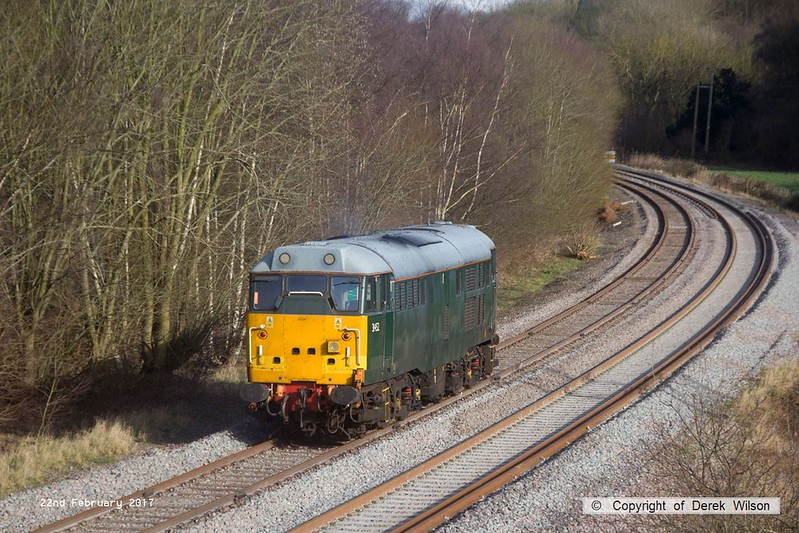 170222-011  DCR green class 31 No 31452 is captured on the High Marnham Test Track, heading to Boughton Junction to collect  Loram CRG(01) Corrective Rail Grinder.