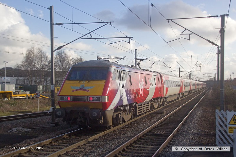 170207-045  Virgin East Coast class 91 No 91101 Flying Scotsman propelling 1A31, the 13:15 Leeds - London King's Cross, captured speeding through Newark North Gate.