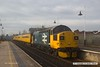 170206-002  Captured passing through Mansfield on the Robin Hood Line are Colas operated class 37's  No's 37025 Inverness TMD in large logo blue livery, & 37254 in InterCity livery, top & tailing Plain Line Pattern Recognition 2 (PLPR2) test train 1Q64, 0853 Derby R.T.C. - Leeds, Neville Hill T. & R.S.M.D.