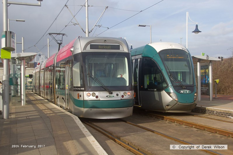 170220-007  Nottingham Express Transit (NET) trams, Bombardier Incentro class No 214 Dennis McCarthy MBE, & Alstom Citadis 302 No 225 Doug Scott CBE are captured in the terminus at Hucknall.