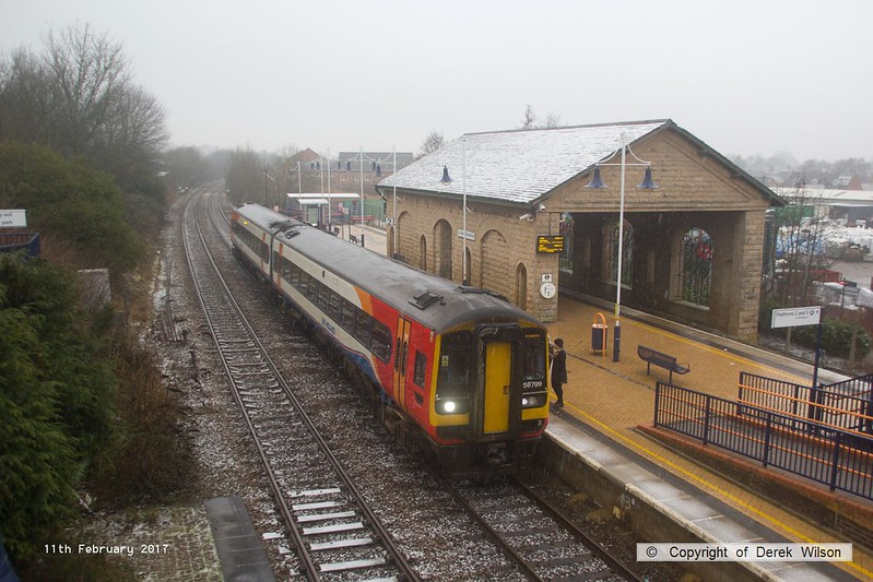 170211-003  East Midlands Trains class 158 unit, Super Sprinter No 158799 calls at Mansfield Woodhouse with 2D08, the 10:38 Worksop - Nottingham.