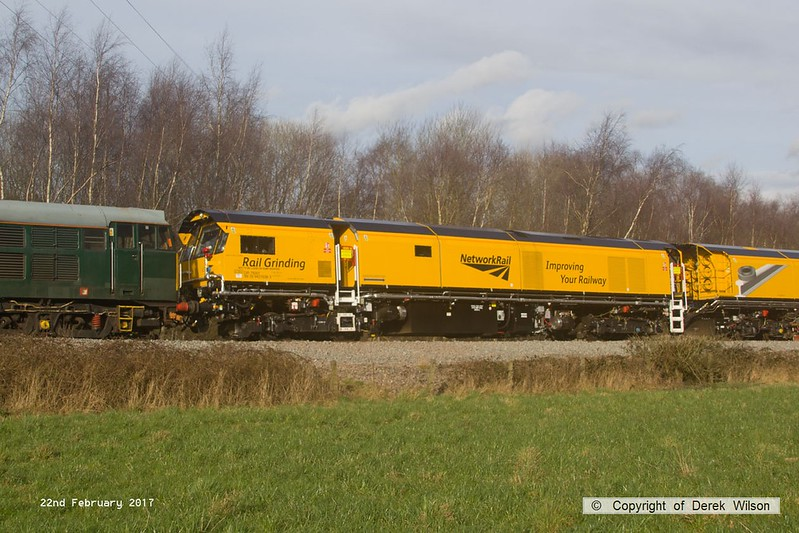 170222-029  DR79301, one of the four vehicles making up the consist of Loram CRG(01) Corrective Rail Grinder, seen leaving the High Marnham Test Track behind 31452.