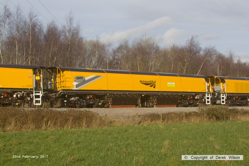 170222-031  DR79303, one of the four vehicles making up the consist of Loram CRG(01) Corrective Rail Grinder, seen leaving the High Marnham Test Track behind 31452.