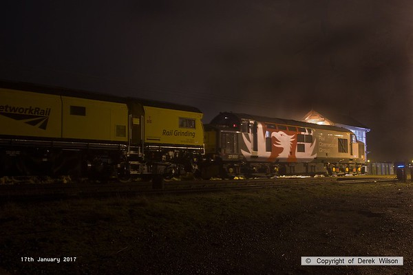 170117-004  Rail Operations Group class 37 No. 37800 is captured at Thoresby on Tuesday 17th January 2017, waiting to depart with train 8Z01 19:57 Thoresby Colliery Jn -  Derby RTC. In tow is a new Rail Grinder that has spent the last six days at Tuxford, on the High Marnham Test Track. the grinder consists of DR 79301/302/303 and 304, out of shot at the rear was class 31 No 31233, which has been at Tuxford as stand-by loco.