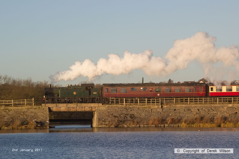 170102-027  GWR Collett 5600 class  0-6-2T No 5619 is captured on 2nd January crossing Butterley reservoir, heading to Hammersmith with ex 14:00 departure from Butterley, the last train of the festive season