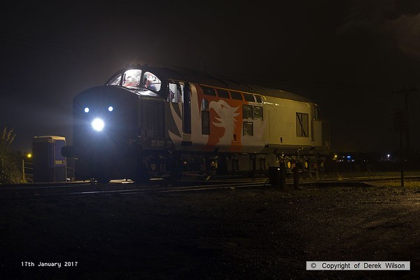 170117-002  Having just arrived as 0E28 16:40 Leicester L.I.P - Thoresby Colliery Jn, Rail Operations Group class 37 No. 37800 is captured at Thoresby. It was heading to Tuxford to pick up a new Rail Grinder that has spent the last six days at the test track. This is the first visit to Thoresby of a ROG class 37. 17th January 2017