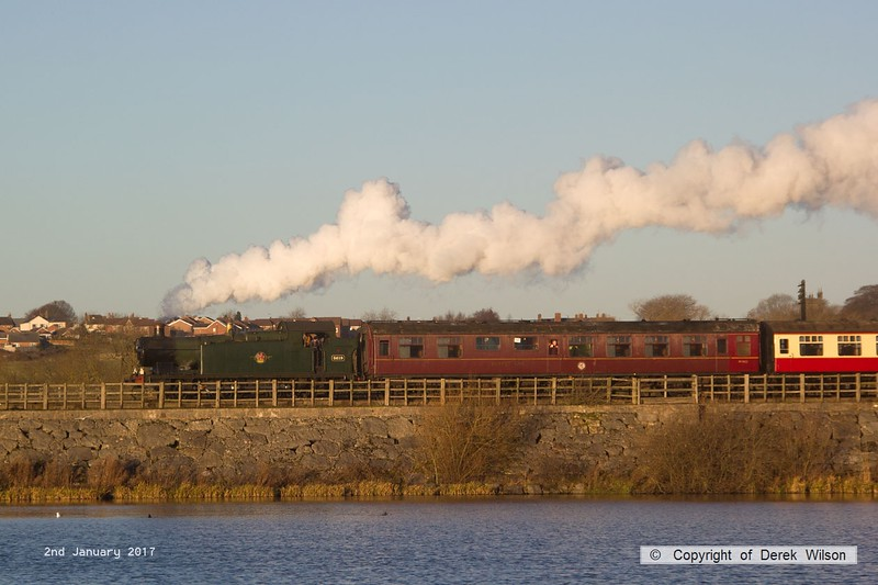 170102-024  GWR Collett 5600 class  0-6-2T No 5619 is captured on 2nd January crossing Butterley reservoir, heading to Hammersmith with ex 14:00 departure from Butterley, the last train of the festive season
