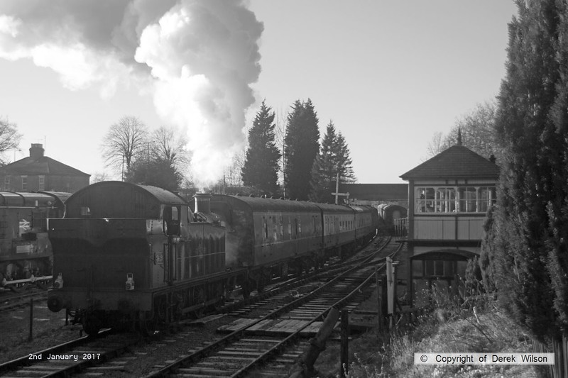 170102-023  GWR Collett 5600 class  0-6-2T No 5619 is captured on 2nd January 2017 pulling away from Butterley with the 14:00 departure, the last train of the festive season.