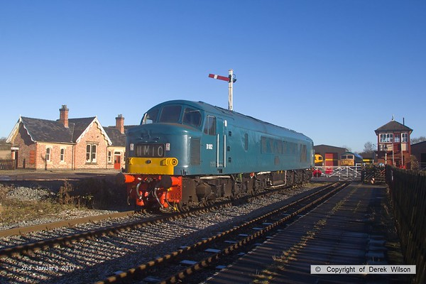 170102-016  BR Peak, class 46 No D182 (46045) in Br blue livery is seen at Swanwick Junction, Midland Railway Centre.