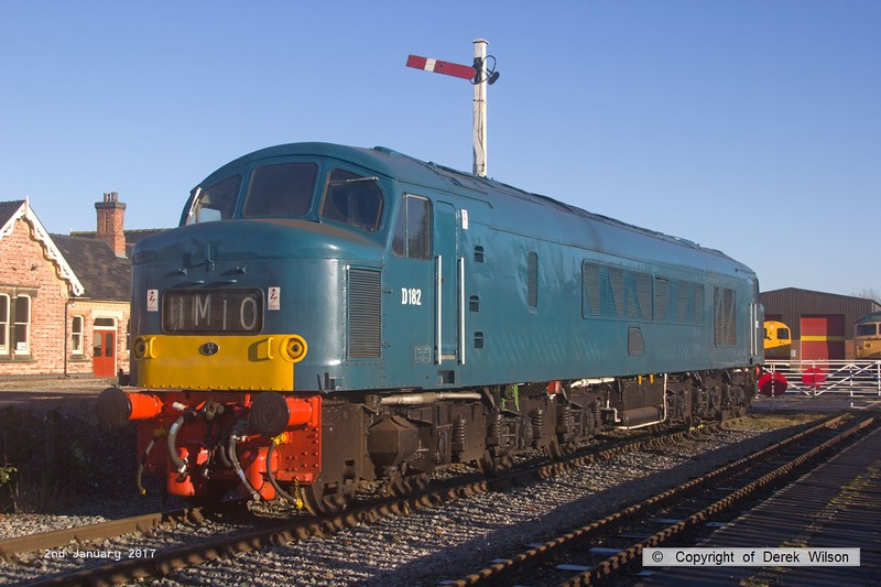 170102-018  BR Peak, class 46 No D182 (46045) in Br blue livery is seen at Swanwick Junction, Midland Railway Centre.