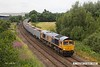 170710-006  On Monday 10th July 2017  GB Railfreight class 66/7 No 66752 The Housier State was captured passing Sutton-In-Ashfield on the Robin Hood Line, powering train 6E89, 10:20 Wellingborough up TC - Rylestone empty ERMEWA JNA wagons. This was off it's normal route and made a very welcome surprise.