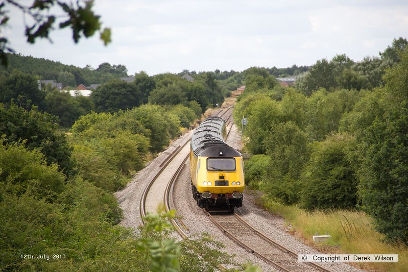 170712-001  Visiting the test track for calibrating on Wednesday 12 July was the Network Rail NMT top & tailed with 43013 & 43062 John Armitt, captured nearing Boughton Junction, running as 1Z10, 11:15 Derby RTC - High Marnham.