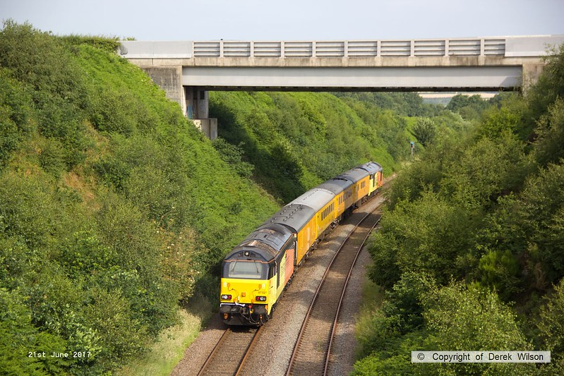 170621-005  Colas Rail Freight class 67's No's 67023 Stella & 67027 Charlotte 'top & tail' with Network Rail test train 1Z11, 08:00 High marnham - Thoresby colliery junction. This was a turning move via Shirebrook Junction & Woodend Junction & is captured on the former LD&ECR, nearing Welbeck Junction.