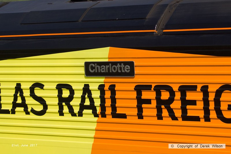 170621-012  Nameplate of Colas Rail Freight class 67 No 67027 Charlotte.