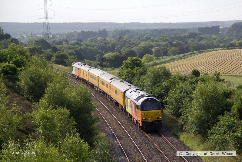 170621-001  Colas Rail Freight class 67's No's 67023 Stella & 67027 Charlotte 'top & tail' with Network Rail test train 1Z11, 08:00 High marnham - Thoresby colliery junction. This was a turning move via Shirebrook Junction & Woodend Junction & is captured on the former LD&ECR, nearing Welbeck Junction.