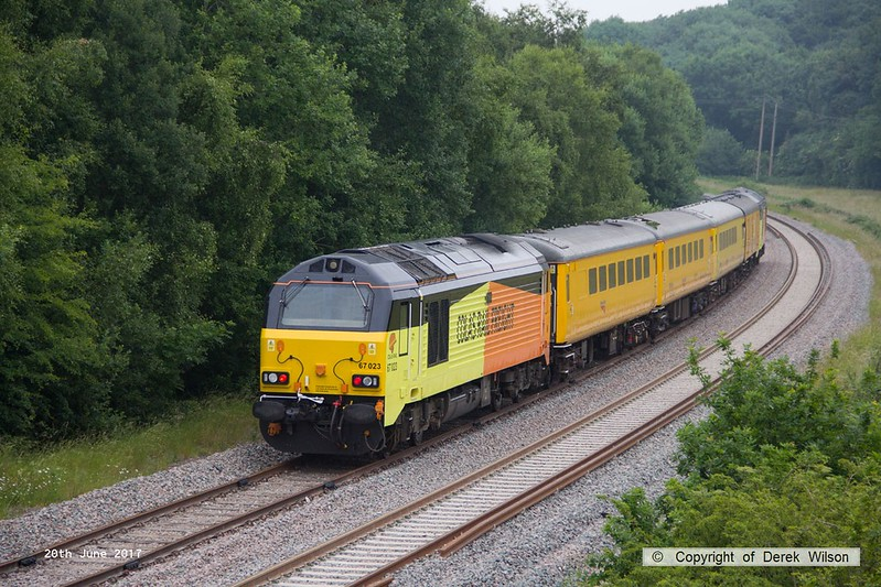 170620-013  On Tuesday 20th June 2017 Colas class 67's No's 67023 & 67027 made their first foray to the High Marnham Test track, top & tailing a Network Rail test train for calibrating. The pair are seen on the test track, nearing Boughton Junction with 67027 leading, running as 1Z10 05:04 Derby RTC - High Marnham. Both loco's have recently been named, 67023 Stella & 67027 Charlotte.