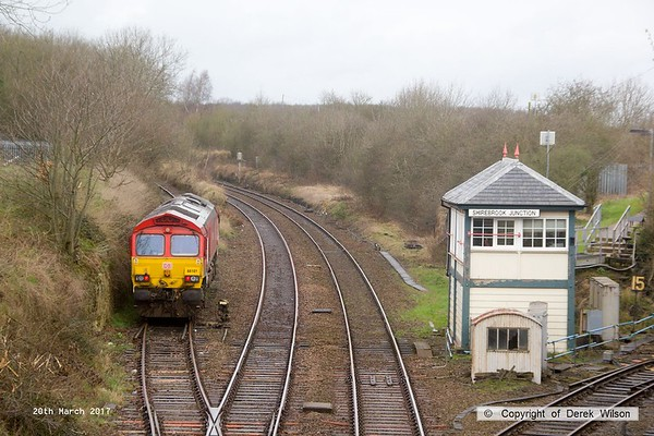 170320-009  DB Cargo class 66/0 No 66101 is seen on the end of W.H. Davis's branch line at Shirebrook, running 'light' as 0M14, 05:28 Knottingley T.M.D. - Shirebrook (W. H. Davis).